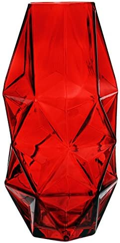 Carnivorous Plants Container H-12, Open 3.5, 1PC Hexagon Design CYS EXCEL Glass Geometric Vase Prism Vase Honeycomb Vase Red Glass Vase with a red Coating