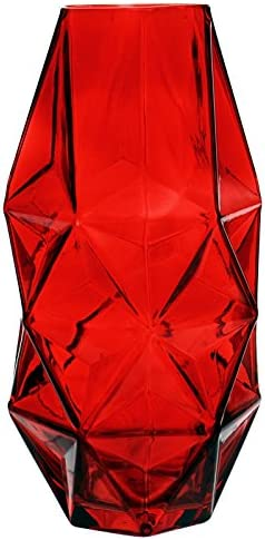CYS EXCEL Glass Geometric Vase, Prism Vase, Honeycomb Vase H-10, Open 3 , 1PC Red Glass Vase with a red Coating, Carnivorous Plants Container, Hexagon Design