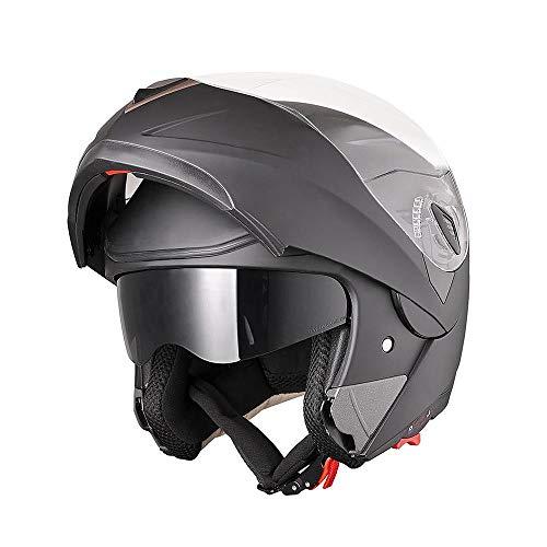 AHR Full Face Flip up Modular Motorcycle Helmet DOT Approved Dual Visor Motocross Matt Black L