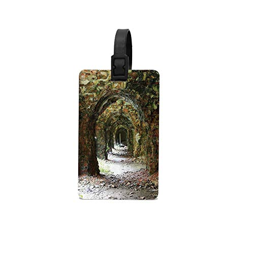 Arched Laminated - ABLnewitemFrameFF Rustic Ruins of Arched Medieval Period Brick Tunnel Architecture Heritage Design Grey Red Luggage Tag ID Card Holder For Travel BaggageTags