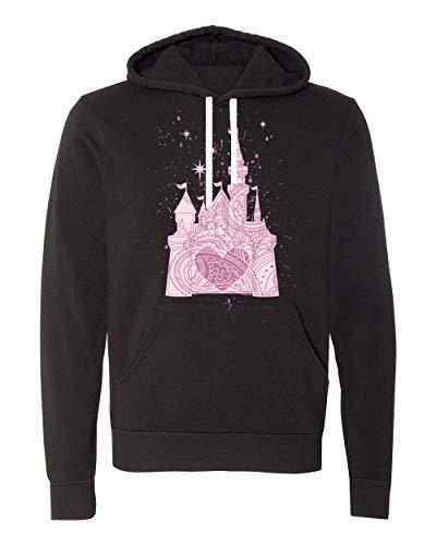 (The Perfectly Pink Princess Ladies Castle Fleece Hoodie (X-Small, Black Hoodie))