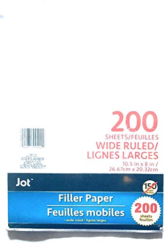 School Supplies- 200 Sheet Wide Riled Filler Paper by hunted treasures