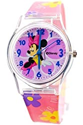 """Disney Minnie Mouse Watch For Kids .Large Analog Dial. 9""""L Band."""