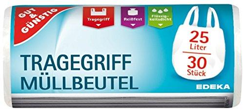Gut & Günstig 150 Bolsas de Basura/Basura Bolsas con asa, 25 L, 30 Unidades por Rollo y Resistentes, Líquido, sumergibles del & reciclable del Paquete