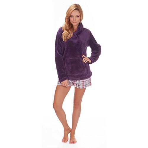 Forever Dreaming- Chaqueta de lana de pijama con cuello, para mujer,tallas S a XL morado