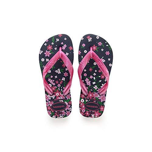 Havaianas Baby Kids Flores Sandal Flip Flop, Navy/Pink, 11/12 M US Toddler