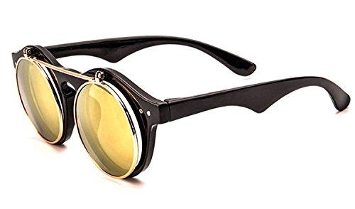 Classic Small Retro Steampunk Circle Flip Up Glasses / Sunglasses Cool Retro 2017 - Glasses Square Circle