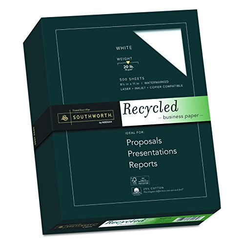 """Southworth Recycled Paper (Southworth Recycled 25% Cotton Business Paper, 8.5"""" x 11"""", 20 lb., Wove Finish, White, 500 Sheets (603C))"""