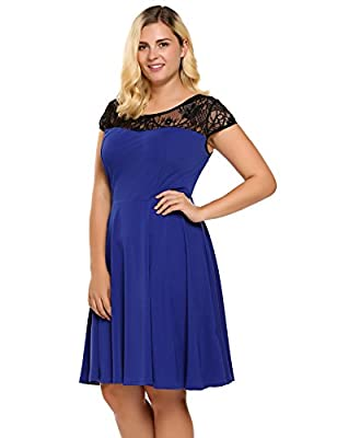IN'VOLAND Womens Plus Size Lace Cap Sleeve Fit and Flare Vintage Party Dress - Ladies High Waist Floral Lace Tea Dress