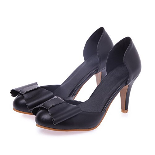 AmoonyFashion Womens Soft Material Round Closed Toe Kitten Heels Pull On Solid Pumps Shoes Black 1MF8wlLRDr