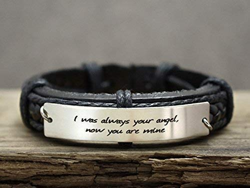 57b7149684 Image Unavailable. Image not available for. Color: Custom Mens Leather  Bracelet, Personalized Inspirational Quote ...