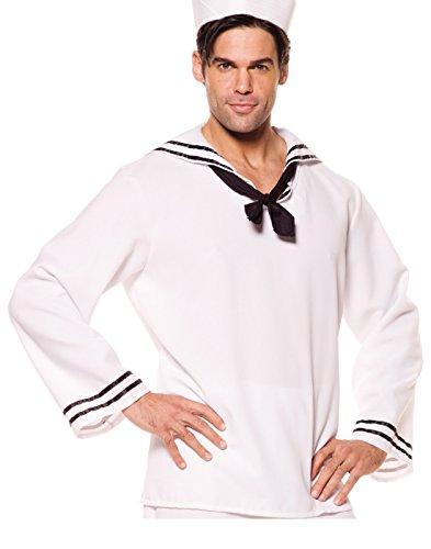 Underwraps Costumes Men's Sailor Costume - Shirt, White/Black, (Popeye Costume Shirt Only)