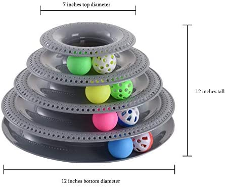 Pets Furst Cat Toys Interactive, Tower of Tracks Kitten Toys, 4 Balls with Bells, 4 Regular Balls, Modern Colors Available, Interactive Cat Toys, 1 Year Warranty 5