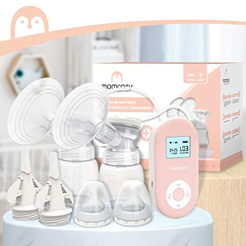41yZligM6iL - Double Electric Breast Pump Portable Pain-Free Rechargable By Momcozy, Strong Suction Power, 9 Speeds 2 Modes, Timer And Memory Function, Hospital Grade
