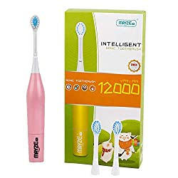 MAYZE Electric Toothbrush for Kids - 2-12 Years Children Battery Powered Sonic Toothbrush IPX6 Fully Waterproof with 2 Soft Brush Heads  ˆPink ‰