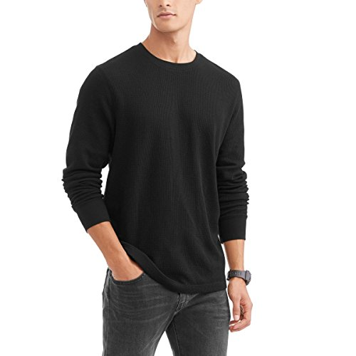 Black Long Sleeve Thermal Crew Shirt (X-Large (Faded Black T-shirt)