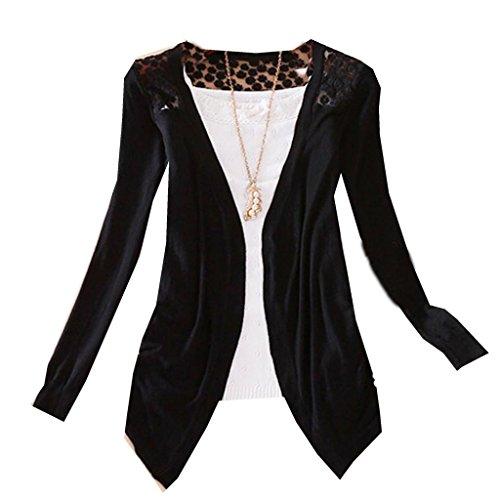 Goldensat Women Autumn Floral Hollow Long Sleeve Thin Knit Cardigan Sweaters M Black