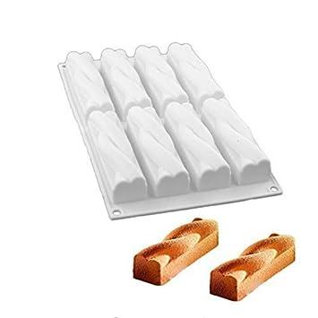 Moldes de silicona para repostería de 6 cavidades con forma ovalada y 8 cavidades, moldes de silicona para repostería de pan ...