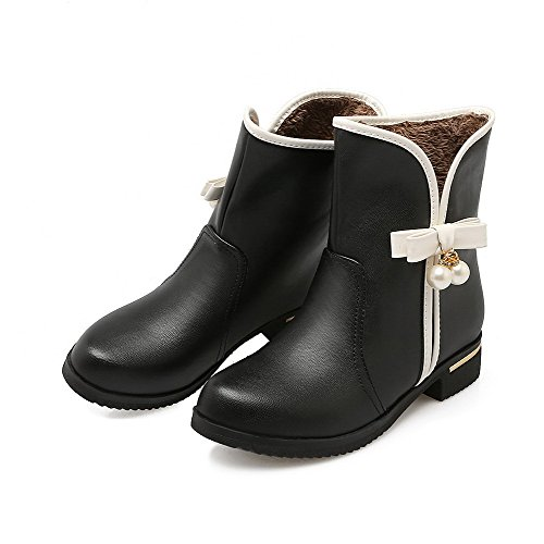 Round Heels Top Black Low Allhqfashion Low Pull Material Boots Toe Closed Soft Women's On 68qzaWU8