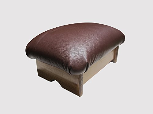 Padded Foot Stool Chocolate Ganache Leather (Made in the USA) (7'' Tall - Chic Stain)