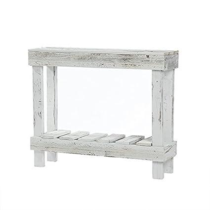 Del Hutson Designs  Rustic Barnwood Sofa Table, USA Handmade Reclaimed Wood  (White)