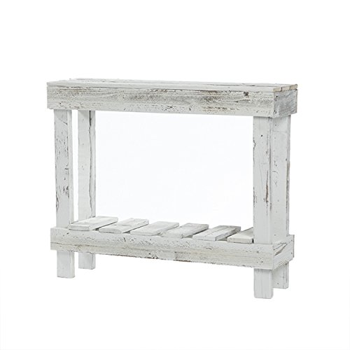 Del Hutson Designs  Rustic Barnwood Sofa Table, USA Handmade Reclaimed Wood  (White)