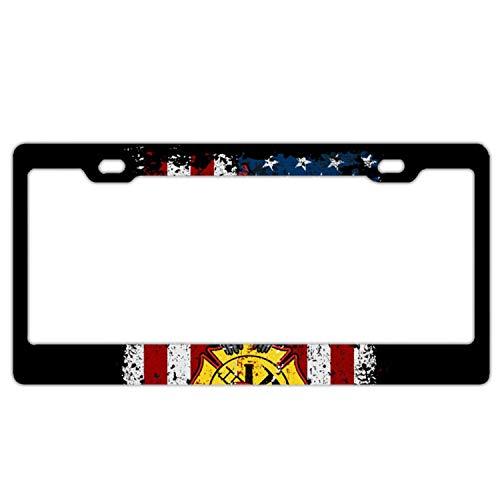 SHUIZHIQING Fire Department Firefighter Trojan Warrior Car Vehicle License Plate Metal Tin Sign Plaque