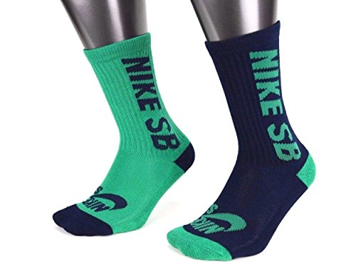 Pack Sock 2 Crew Navy (Nike Boys SB Skater High Crew Socks - 2 Pack Green/Navy Blue Youth 5Y-7Y)
