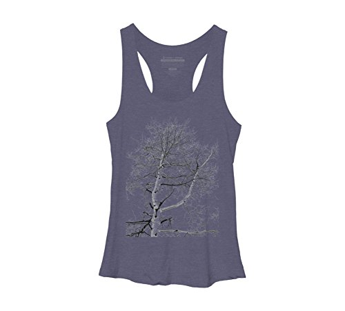 Design By Humans Abstract Winter Tree Womens 2X Large Navy Heather Racerback Tank Top