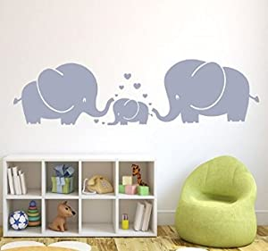 MAFENT(TM) Three Cute Elephants Parents And Kid Family Wall Decal With  Hearts Wall Decals Baby Nursery Decor Kids Room Wall Stickers (Grey) Part 89