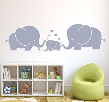MAFENT(TM) Three Cute Elephants parents and kid Family wall decal With Hearts Wall Decals Baby Nursery Decor Kids Room Wall Stickers (Grey) from MAFENT