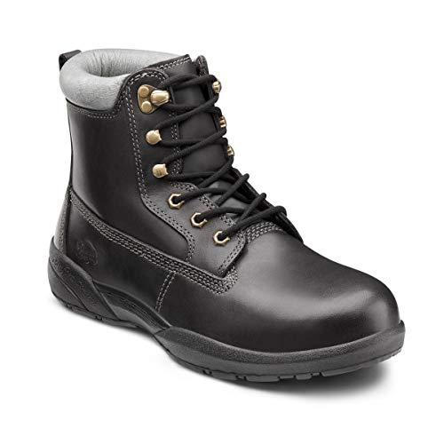 Dr. Comfort Men's Protector Steel Toe Diabetic Boots: Black 12 Medium - Shock Sports Gel Combat