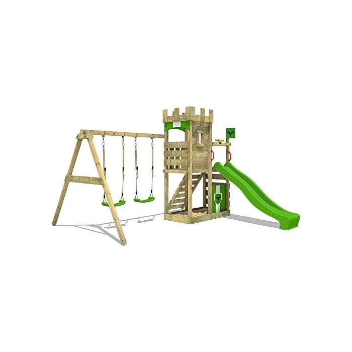 41yZnGHfVRL FATMOOSE Torre de escalada con columpio y plataforma de juego grande - Calidad-y- seguridad verificadas Madera maciza impregnada en clave, de fácil mantenimiento - Viga de columpio de 9x9cm y postes verticales de 7x7cm Instrucciones de montaje detalladas para un montaje fácil - 10 años de garantía* para todos los elementos de madera
