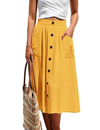 Naggoo Womens Casual Solid Button Front High Waist Summer A-Line Midi Skirt with Pocket Yellow XL