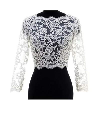 FIDDY898 V Back Beaded Lace Long Sleeve Wedding Jacekt Bridal Bolero Ivory 8 ()