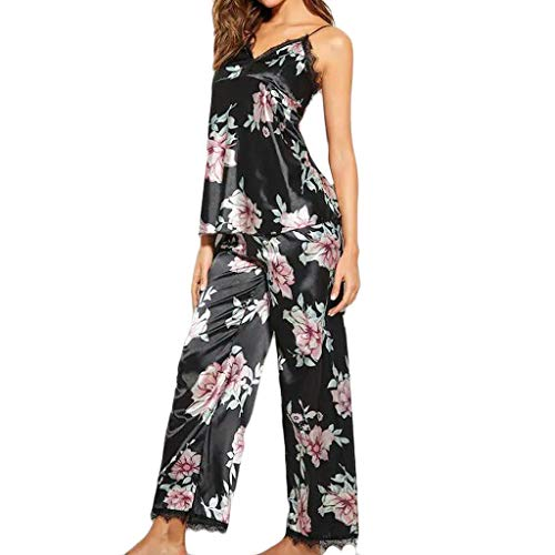Women Sleepwear Fxbar,Satin Printed Two Piece Printed Lace Pajamas V-Neck Vest Trousers Sets Pants(Black,M)