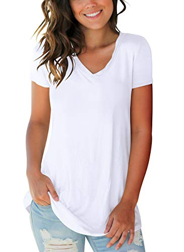 FOWSMON Women's Casual V Neck Short Sleeve Tops Basic Summer T Shirts