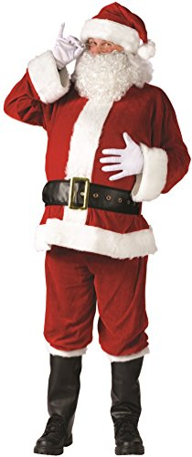 Santa Suit Complete Velour Costumes (Fun World Men's Plus Santa Suit Complete Velour Christmas Costume Red)