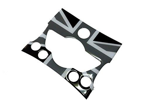 Black Union Jack Soft Interior Dashboard Control Switches Panel sticker for MINI COOPER R56 07~08 ()