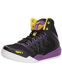AND 1 Women's Overdrive Basketball Shoe, Black/Amaranth Purple/Vibrant Yellow, 10 M US