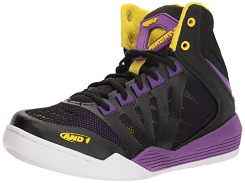Purple Basketball Shoe - AND1 Women's Overdrive Basketball Shoe, Black/Amaranth Purple/Vibrant Yellow, 9.5 M US