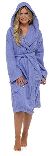 - Ladies 100% Cotton Towelling Hooded Bath Robe LN587 Lilac M 12-14