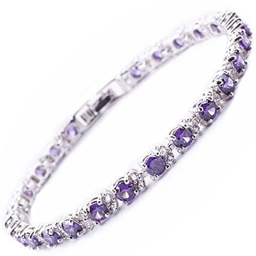 RIZILIA Round Simulated Purple Amethyst and White Cubic Zirconia 18K White gold Plated Tennis Bracelet, ()
