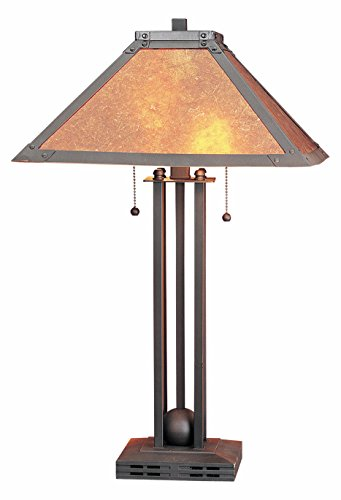 (Matte Black 120 Watt 24.5in. Craftsman/Mission Metal Table Lamp with On/Off Switch and Square Mica Shade)