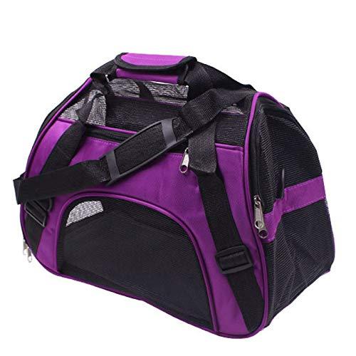 Purple S43x20x29cm Purple S43x20x29cm Pet Carrier Bag,Soft Fabric Pet Carrier Pet Carry Travel Shoulder Bag with Mesh Windows,for Car Bike Travelling,Purple,S43x20x29cm