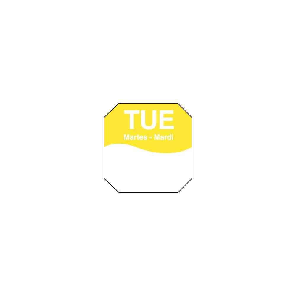 DayMark 1100602 Trilingual Octagonal 1'' Tuesday Day Label - 1000 / RL