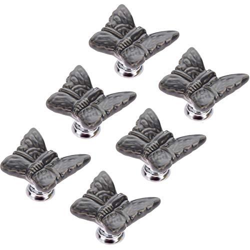 Choubao 6pcs Butterfly Knobs Ceramic Drawer Handles Pulls for Wardrobe Cupboard Dresser Cabinet Closet Kitchen Furniture Knobs for Children's Furniture -