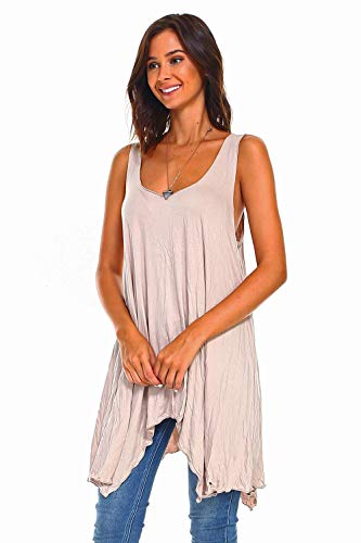 a046e9bcd91 Simplicitie Women's Sleeveless Swing Flare Tunic Dress Tank Top - Regular  and Plus Size - Mocha