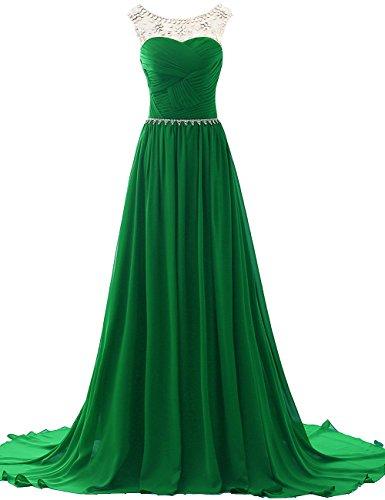 Chiffon Sera Jaeden Abiti Perline Vestito Verde Ballo Con Da Damigella Donne Lungo dCoBxe