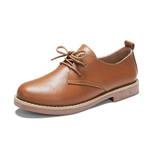 Noir en College HWF taille Style chaussures femme femmes Printemps 40 Couleur femmes cuir Casual Marron simples chaussures chaussures Chaussures britannique chaussures plates rYPq4UwY